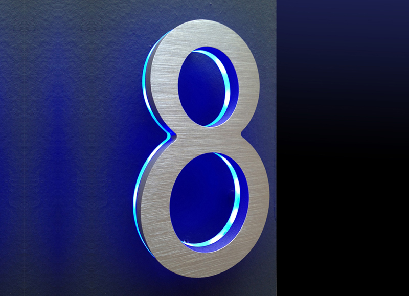 "Modern Illuminated 5"" House Numbers Blue"