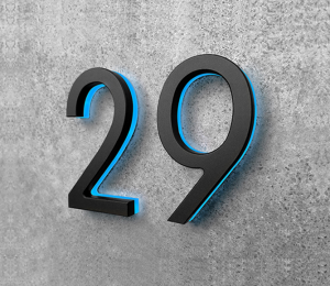 Modern 5″ Black / Blue LED Numbers