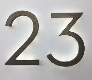 Modern Neutra 8″ Bronze Backlit Numbers
